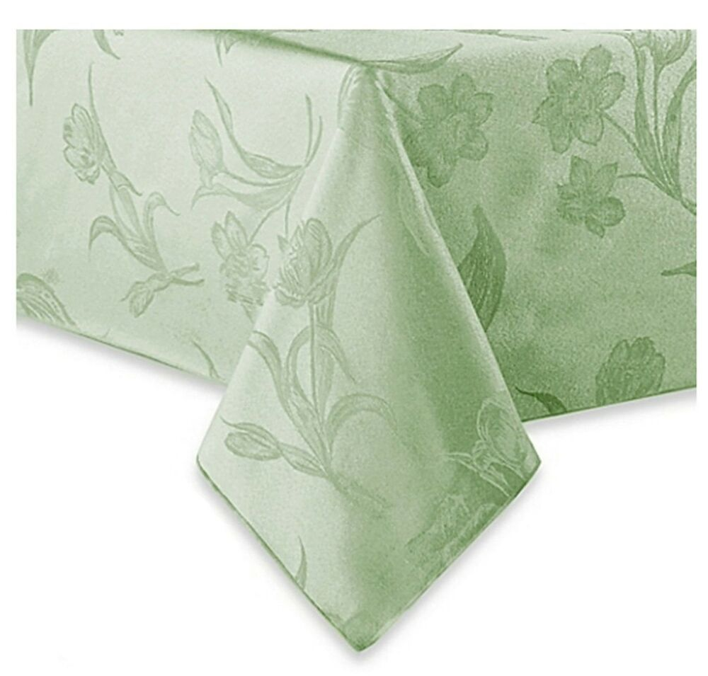 spring blossoms pistachio green fabric tablecloth 60 x 120 rectangle oblong ebay. Black Bedroom Furniture Sets. Home Design Ideas