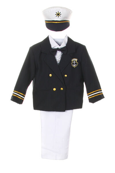 082cfbaa98c2 Baby Boy Toddler Formal Party Captain Sailor Suit +Hat Outfits New ...