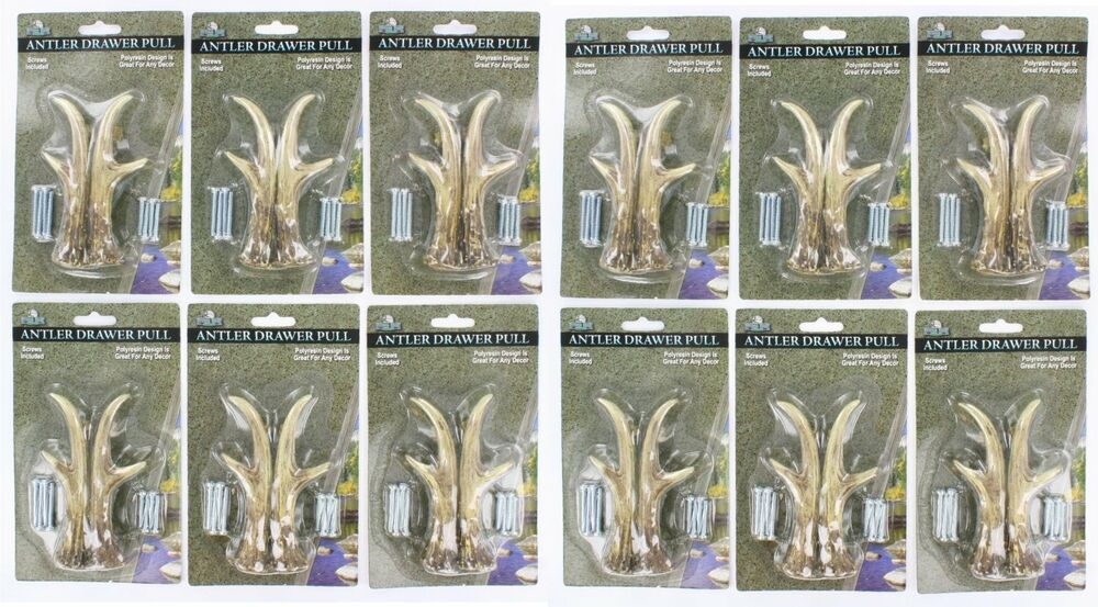 12 Pk Lot Deer Antler Drawer Pull Cabinet Handle Knob Set