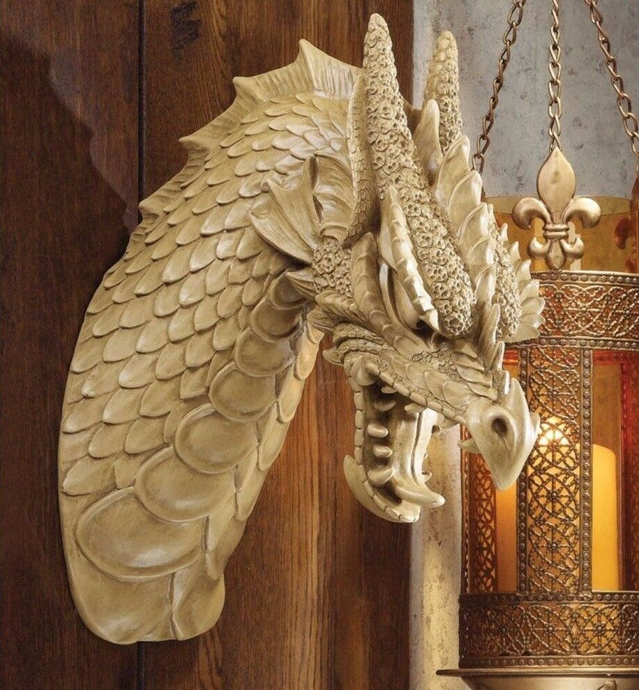 Horned Dragon Wall Mounted Ornament Sculpture Head In