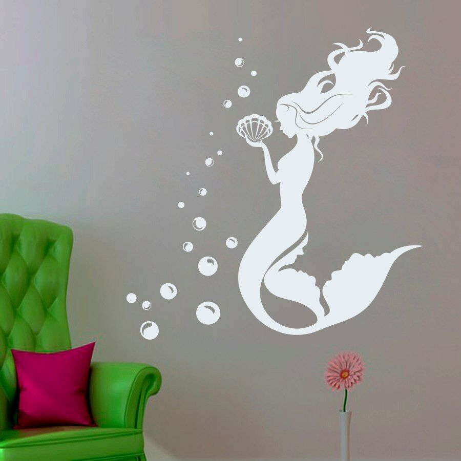 Mermaid vinyl decal water nymph wall sticker bathroom for Mermaid bathroom decor vintage