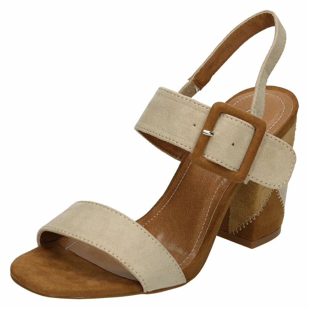 c041827ebaa Details about Spot On F1R0626 Ladies Nude Tan Block Heeled Sandals UK 3 to  8 (R27A)