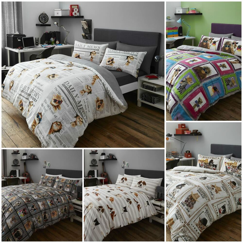 Fun Animal Themed Duvet Quilt Cover Bedding Sets Cats