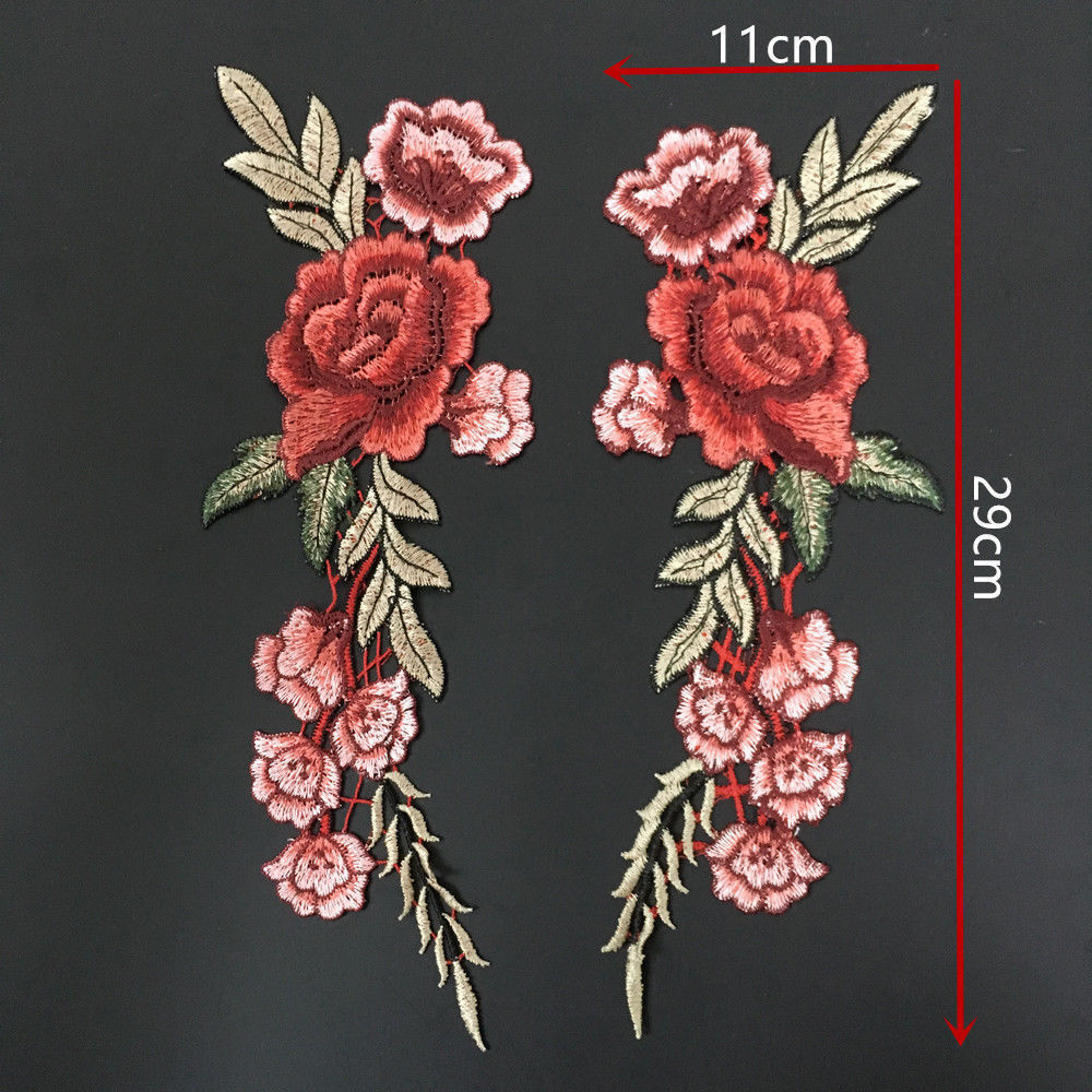 Embroidery rose flower sew on patch badge bag hat
