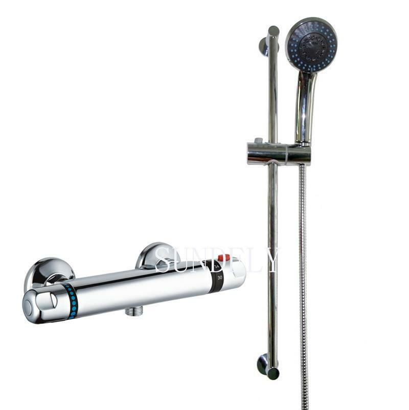 New Thermostatic Shower Bathroom Chrome Bar Mixer Exposed