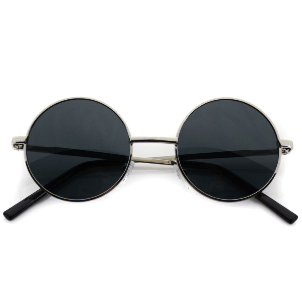 8e0aa44d025 Details about John Lennon Sunglasses Round Hippie Retro Silver Frame Super  Dark Black Lenses