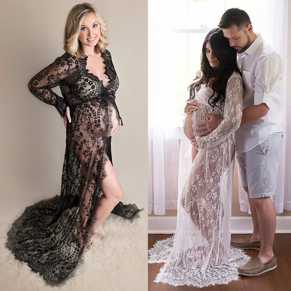 Maternity lace maxi gown wedding party dresses photography for Lace maxi wedding dress