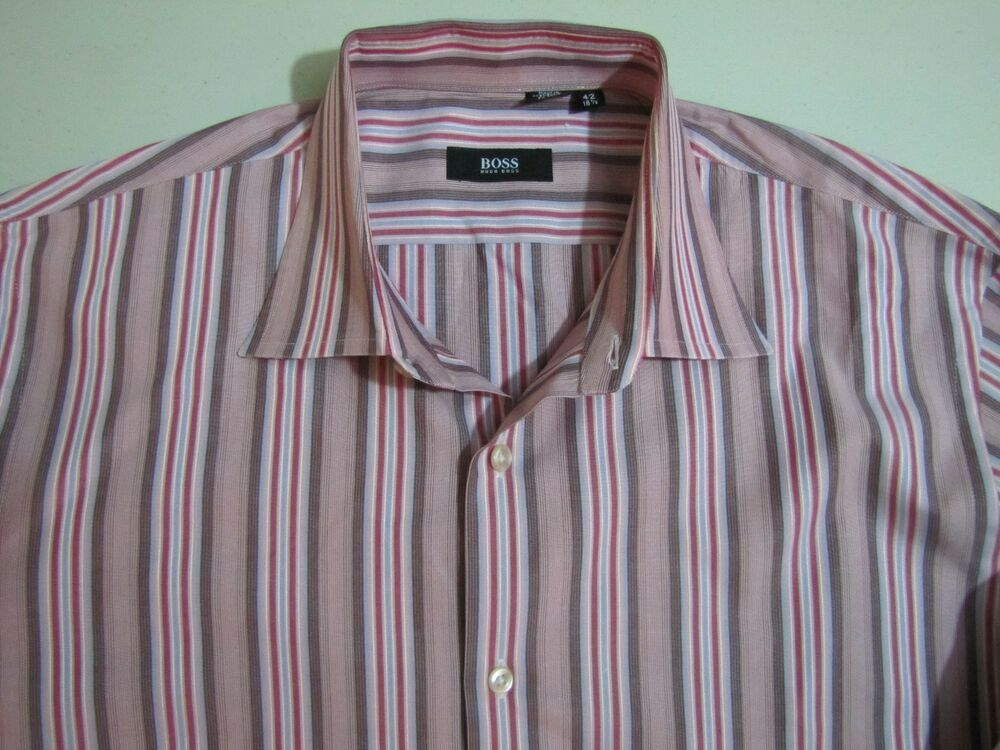 8f6244035b4f Details about HUGO BOSS Dress Shirt SIZE 15.5 42 Red Brown Stripes Mens  Luxury Fashion