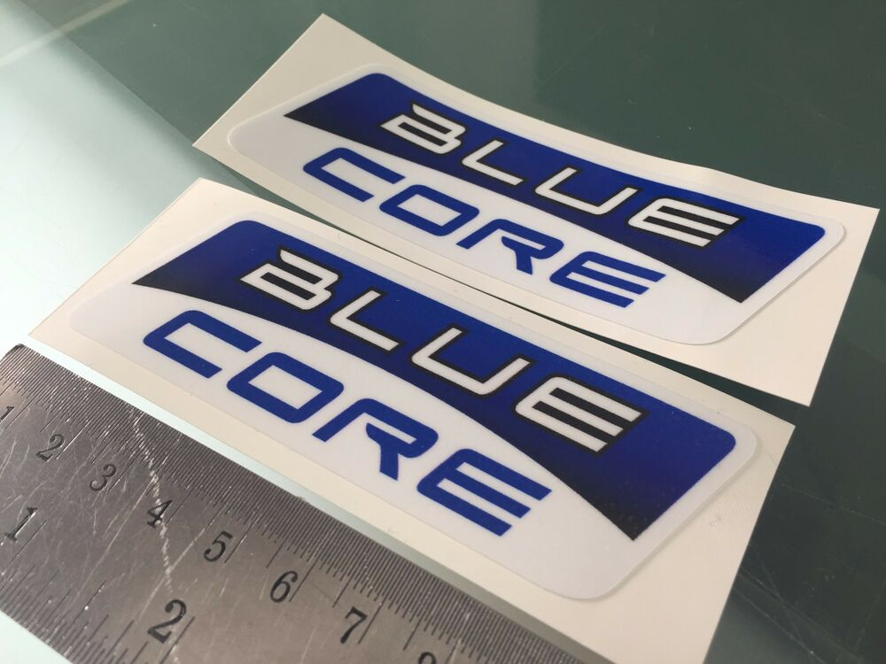 Blue core decals stickers moto gp team 100mm x 33mm x2 ebay