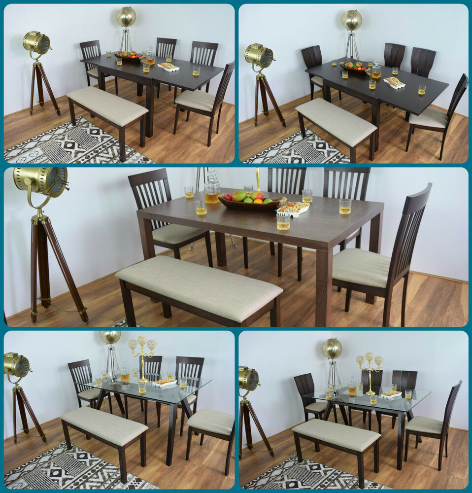 Dining table and 4 chairs bench solid wood set glass for Kitchen table sets with bench and chairs