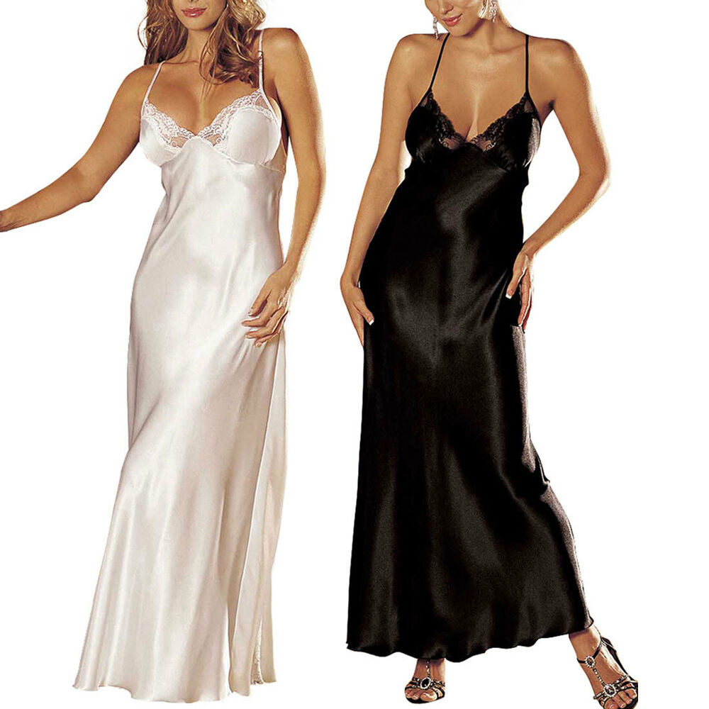 Womens Low Cut Satin Long Gown Night Gown Dress Nightwear ...