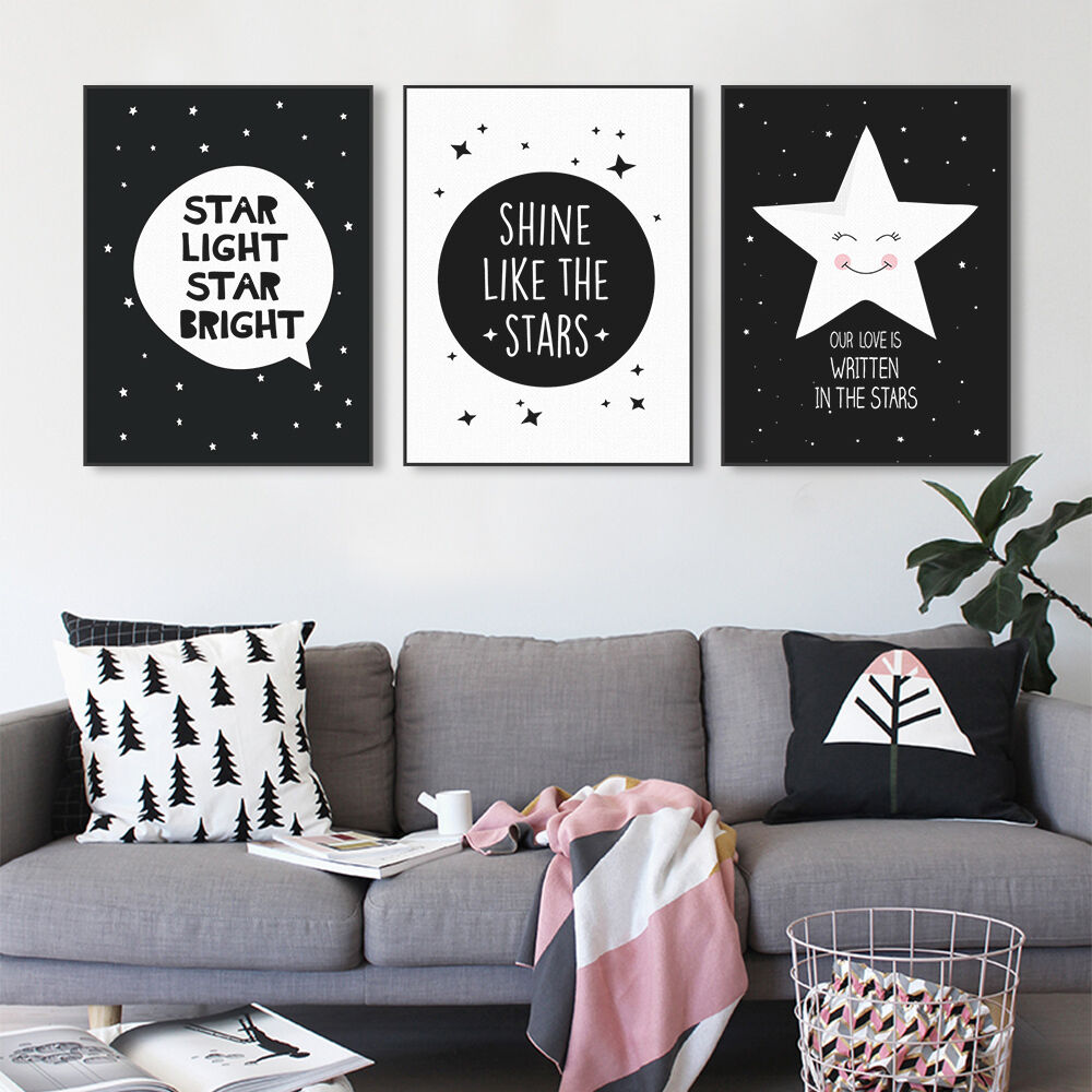 Details about black white star quotes a4 poster print wall art kids room decor canvas painting