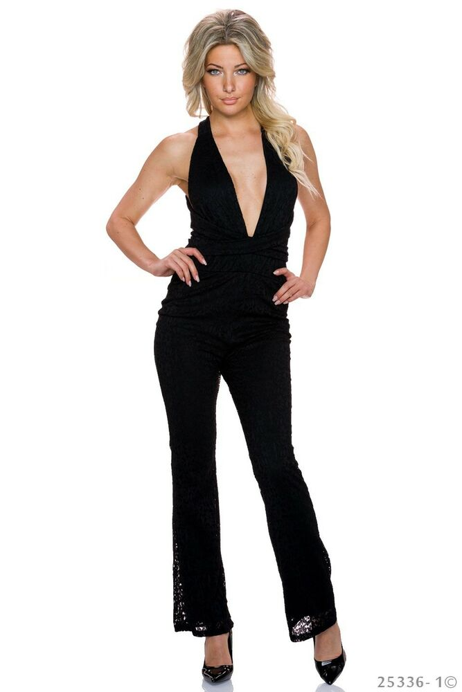sexy hosenanzug lang jumpsuit overall neckholder schwarz. Black Bedroom Furniture Sets. Home Design Ideas