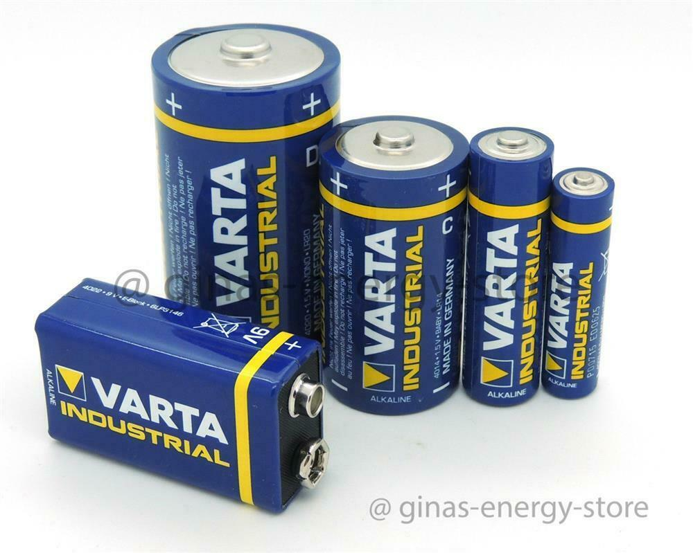 varta industrial alkaline batterien mignon micro baby mono lady 9v block 9 volt ebay. Black Bedroom Furniture Sets. Home Design Ideas