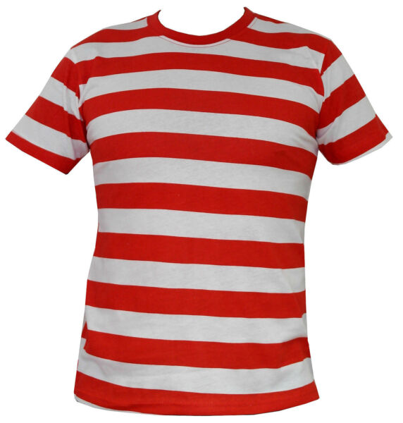 Mens Red and White Striped T-Shirt - S/M/L/XL