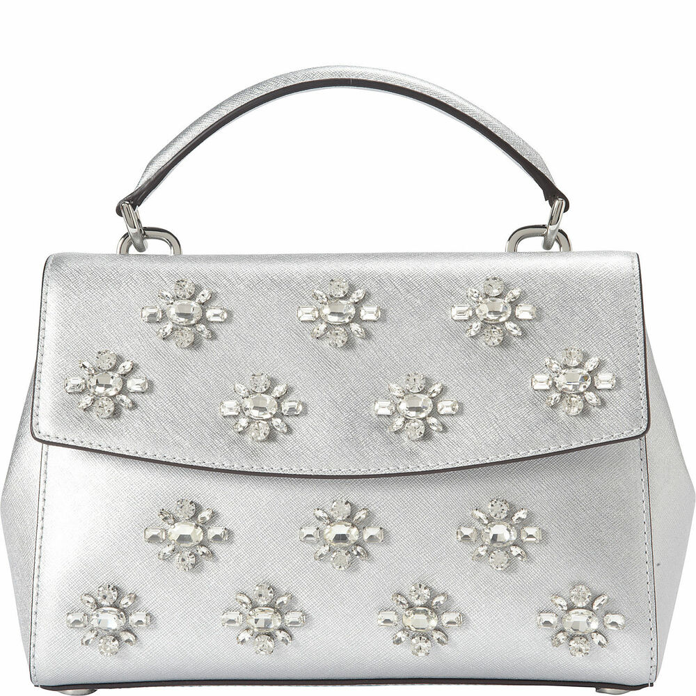 8ff732b0f7d8 Details about Michael Michael Kors Ava Jewel Small Silver Leather Top  Handle Satchel Bag