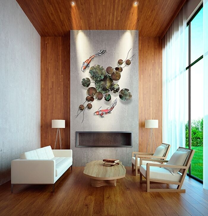 Metal wall art sculpture 3d contemporary modern art home for Koi metal wall art