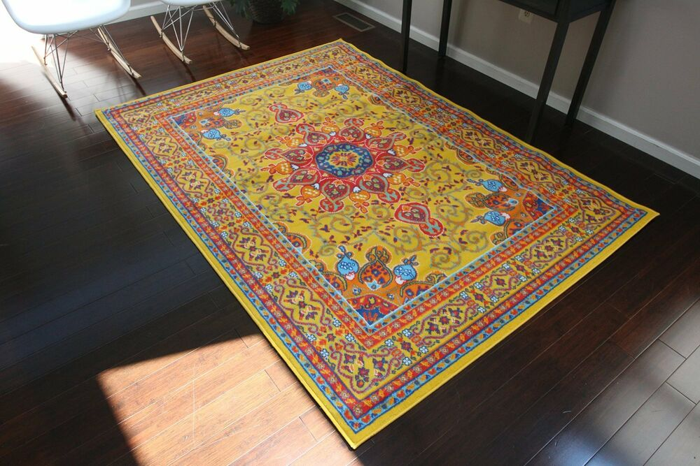 8x10 Isfahan Yellow Orange Blue Oriental Modern Persian