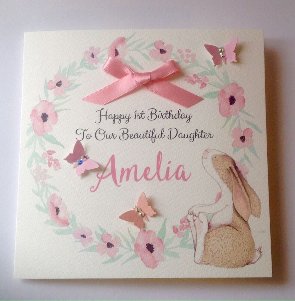 Details About Personalised Bunny Girl 1st Birthday Card Daughter Granddaughter Niece 2nd 3rd 4