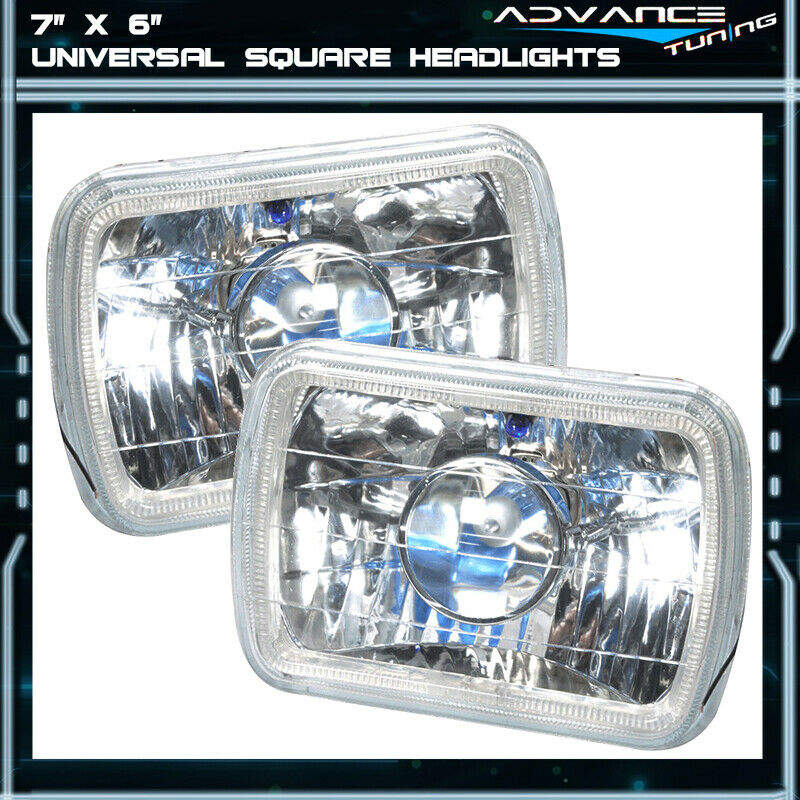 7x6 Inch Blue Halo H4 Bulb Sealed Beam Square Projector