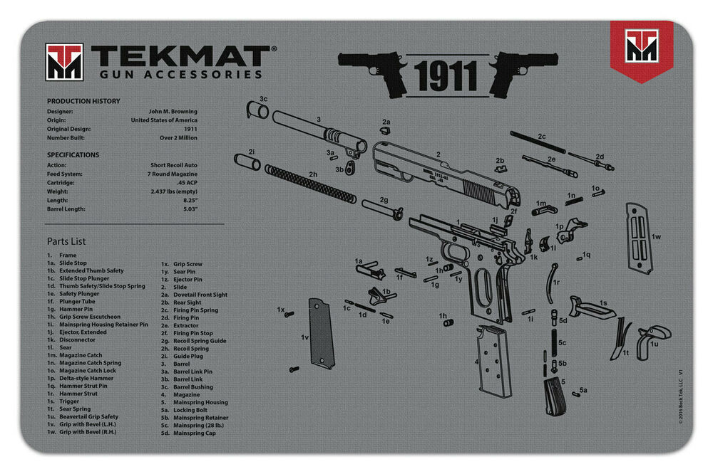 1911 Grey Armorers Gun Cleaning Bench Mat Full Parts List