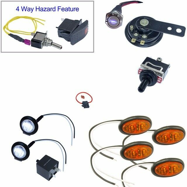 Diy Oval Led Turn Signal Switch Horn Kit For Polaris Rzr