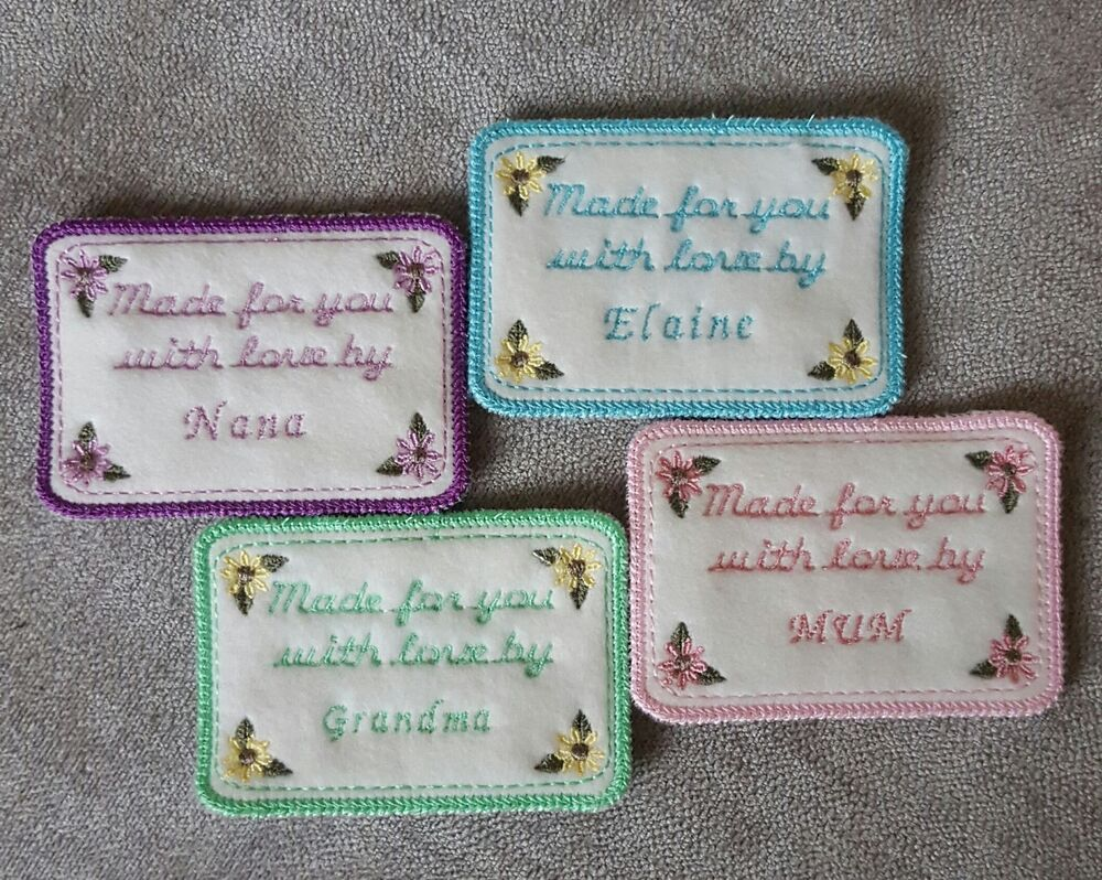 embroidered personalised quilting sewing knitted label