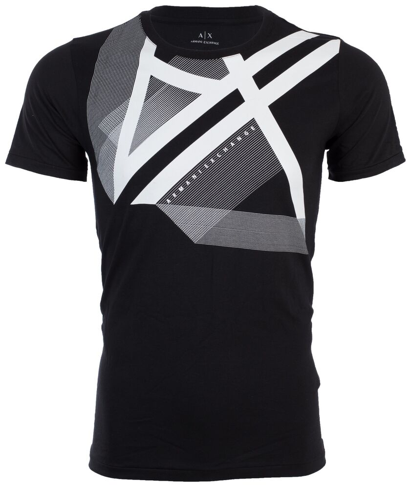 Armani exchange mens t shirt right side up slim black for Luxury mens t shirts
