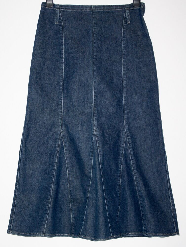 per una denim godet stretch skirt size 12 ebay