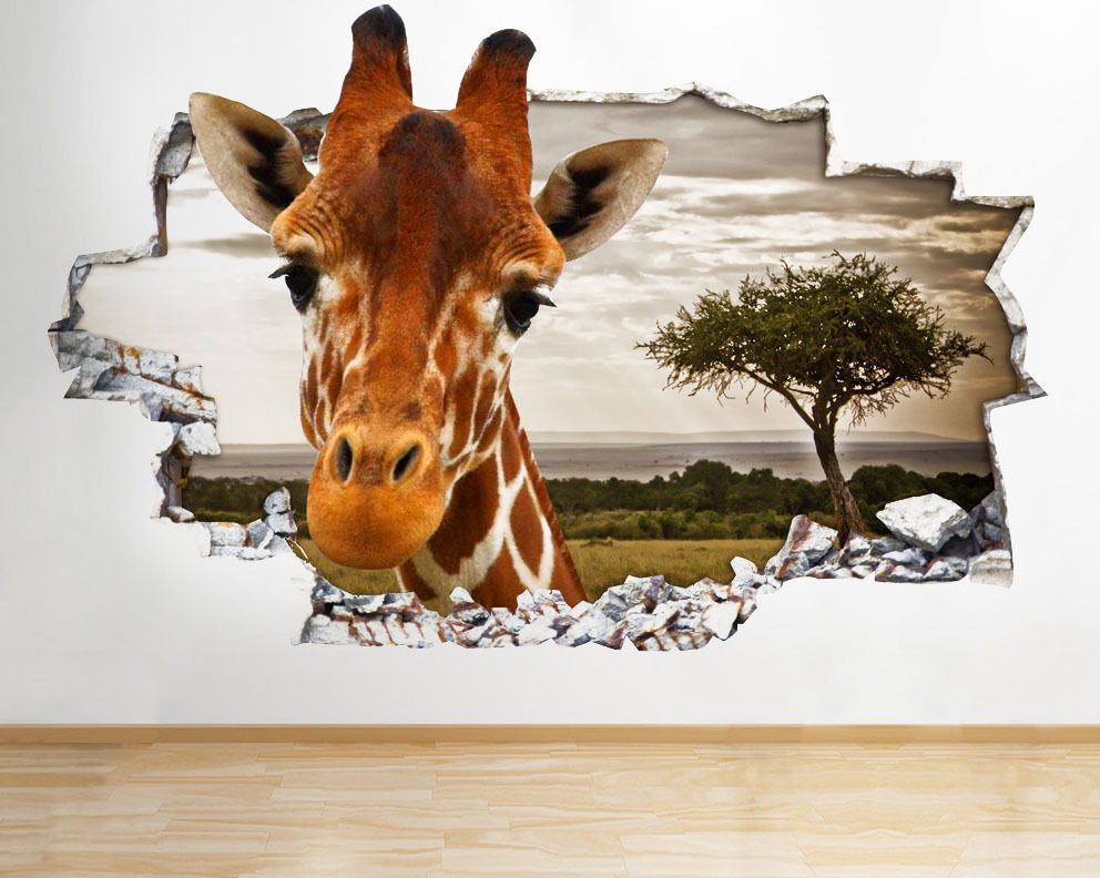Q077 Giraffe Safari Animal Kids Smashed Wall Decal 3d Art Stickers