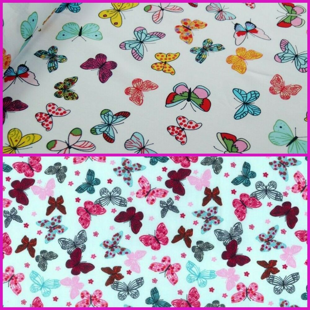 Butterfly cotton fabric children 39 s pink white animal kids for Children s animal print fabric