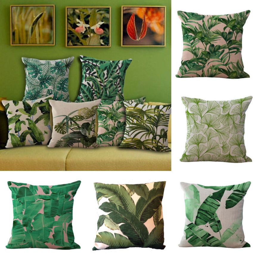 Floral Tropical Plant Leaves Pillow Case Cotton Linen