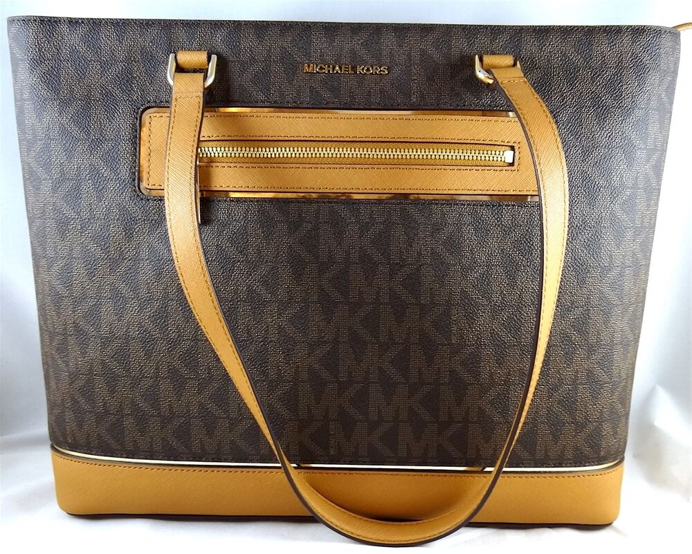 c8a620f2130d MICHAEL MICHAEL KORS FRAME OUT ITEM LARGE NS BROWN MK LOGO TOTE  190049435373