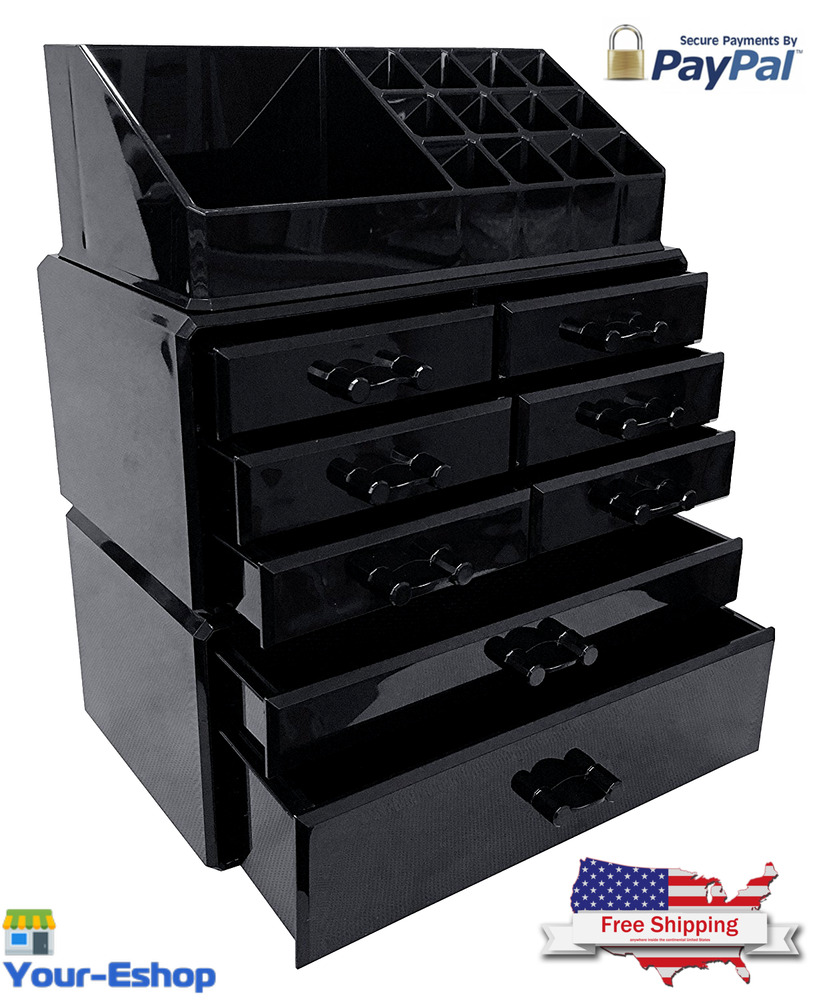 Black Acrylic Makeup Organizer Drawers Box Make Up