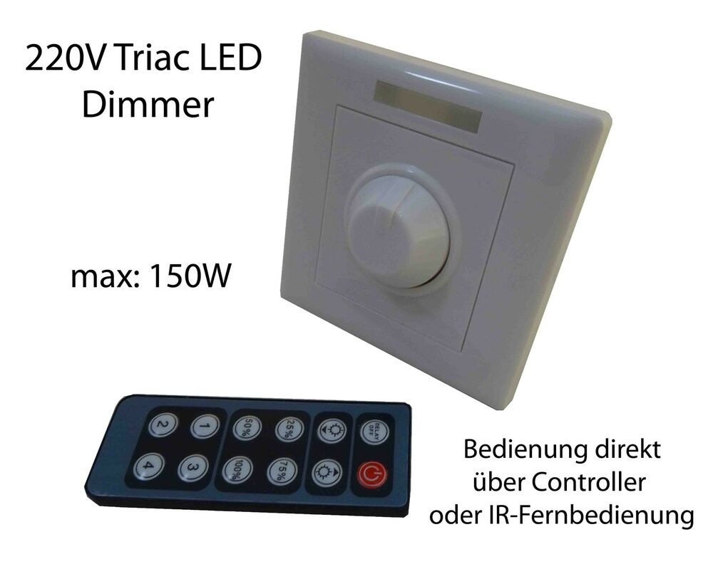 triac 220v led dimmer schalter wandeinbau controller 150w fernbedienung hochvolt ebay. Black Bedroom Furniture Sets. Home Design Ideas