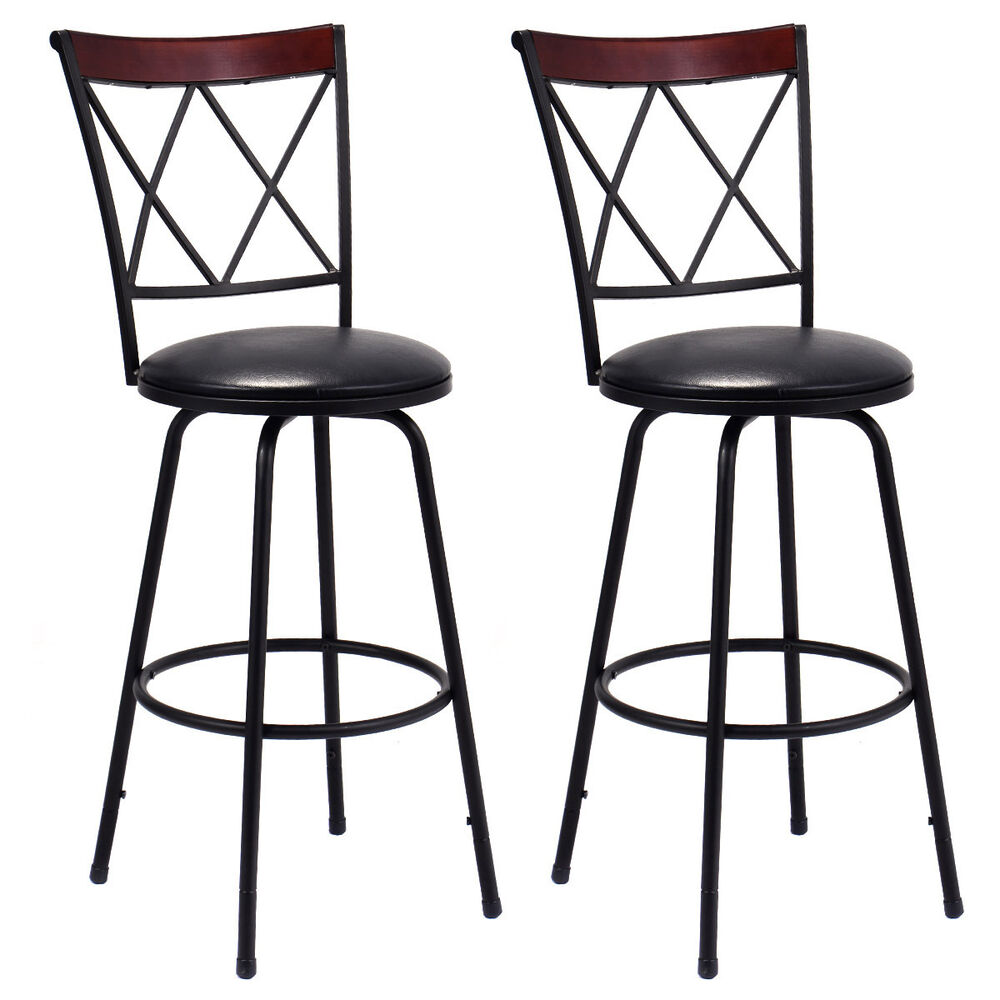 Set of 2 swivel bar stools pu leather steel counter height for Counter height swivel bar stools