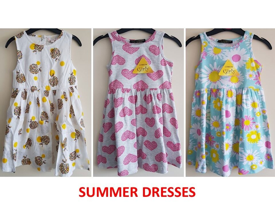 097a952b4636f Details about BABY GIRL KIDS GIRLS SLEEVELESS DRESS FLORAL HEARTS SMART  DRESSES