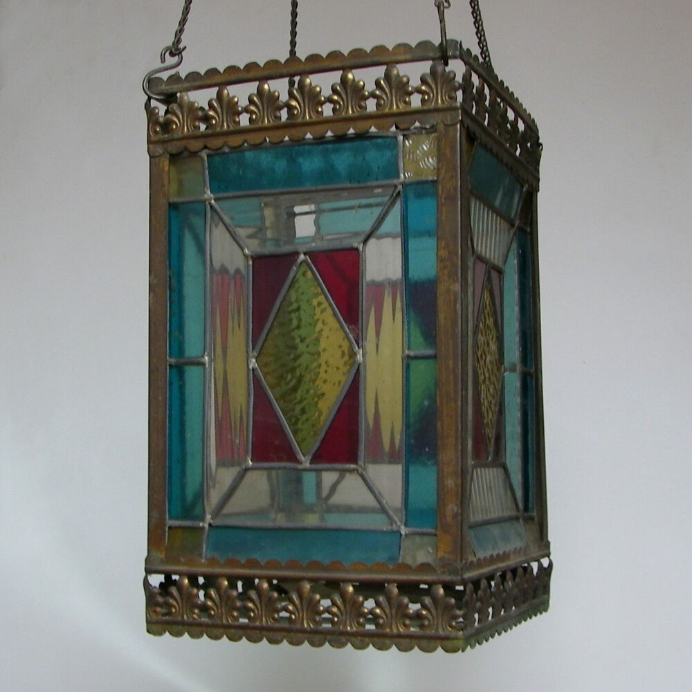 Antique Victorian C1900 Stained Glass Lantern Pendant Ceiling Light Lamp Vintage Ebay