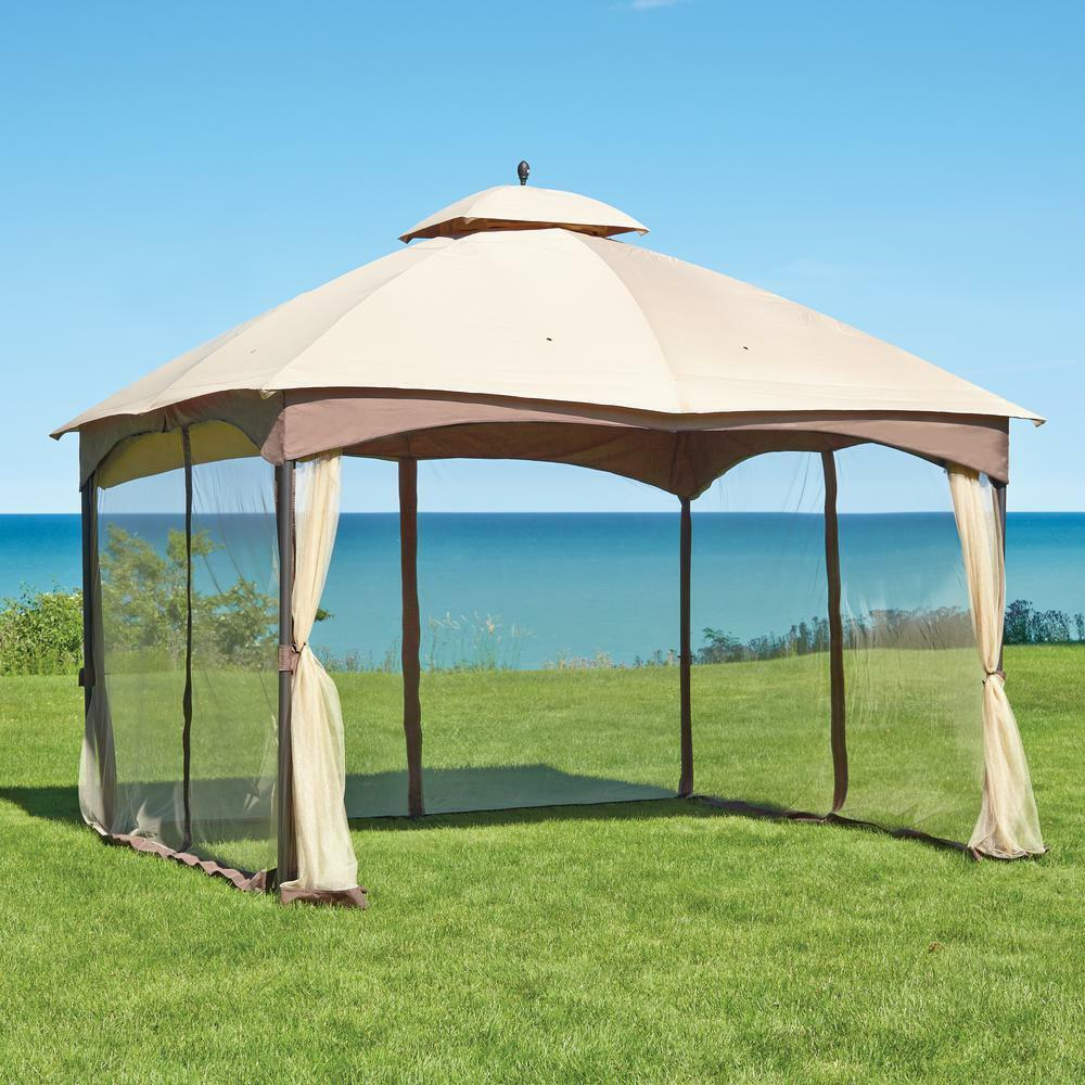 rugged outdoor 10 39 x 12 39 double roof gazebo tent w steel. Black Bedroom Furniture Sets. Home Design Ideas