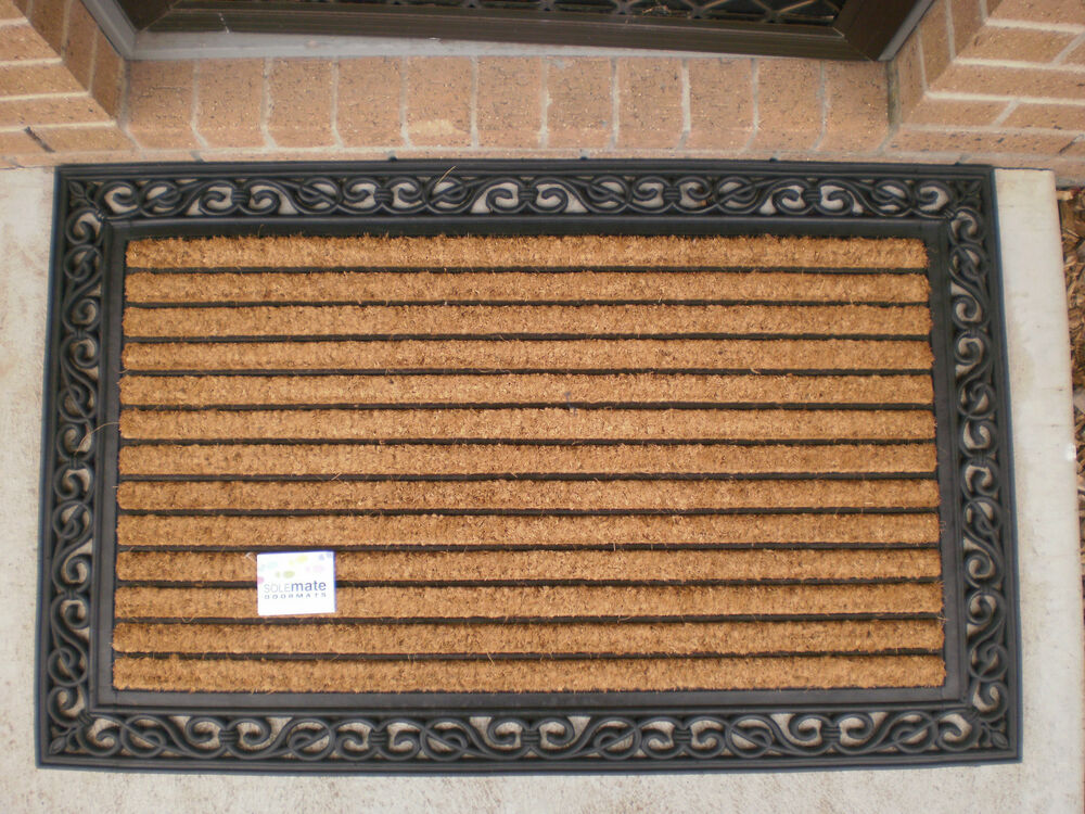 Decorative Ribbed Large Natural Coir Rubber Edged Door