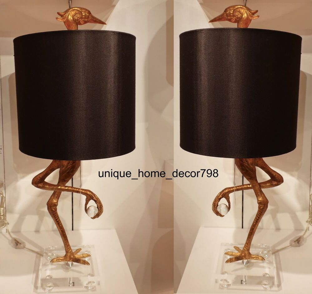 Pair Ibis Crane Table Lamp Set Stork Black Gold Living