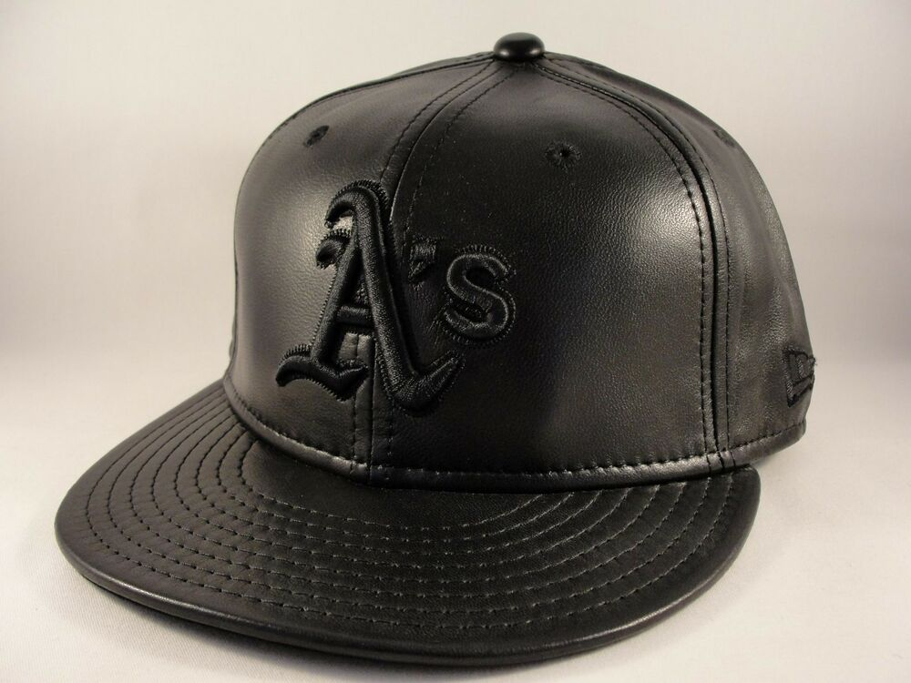 Details about MLB Oakland Athletics New Era 59FIFTY Fitted Hat Cap Black  Leather 509473c0a