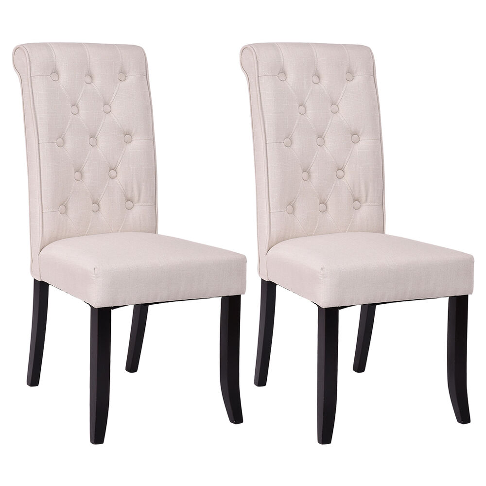 Set of 2 dining chairs fabric upholstered tufted armless for Upholstered accent chairs cheap