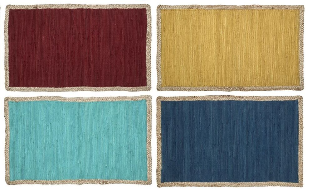 Solid Color Chindi Accent Rag Rug With Jute Border Hand