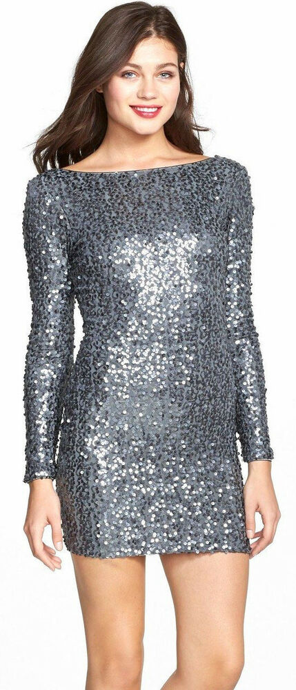 e1582c22f9be Details about Dress the Population Lola Silver Sequin Bodycon Mini Dress  Size Small