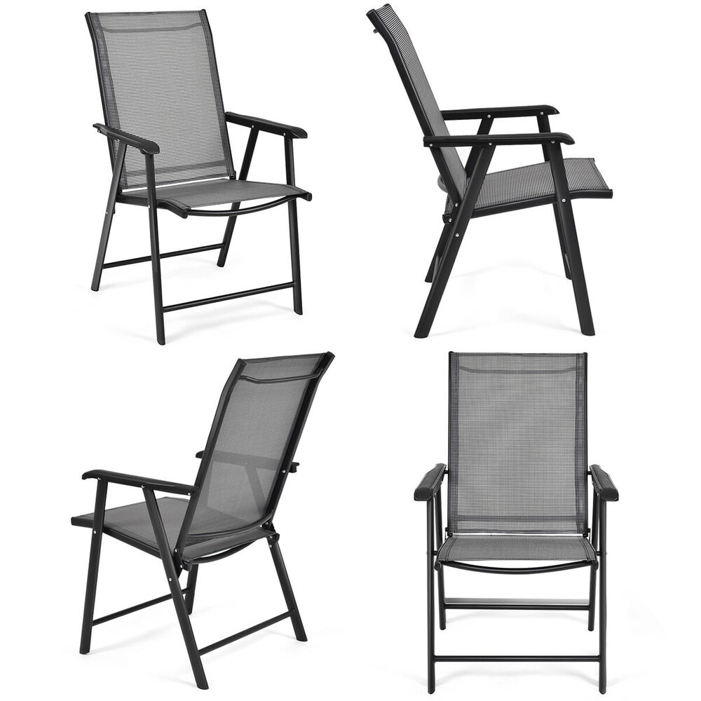 set of 4 outdoor patio folding chairs camping deck garden. Black Bedroom Furniture Sets. Home Design Ideas