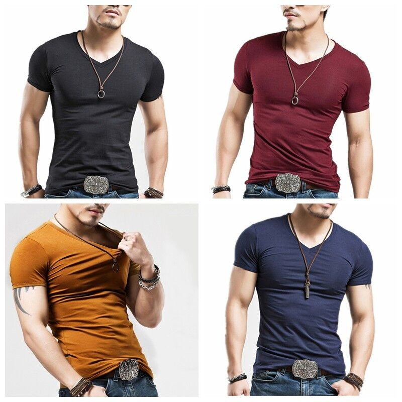 Men 39 s fashion casual tops t shirt short sleeve v neck slim for Tahari t shirt mens