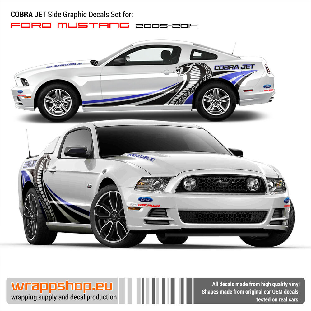 2005 Mustang Decals >> Cobra Jet design decals for Ford Mustang in Blue/Black video | eBay