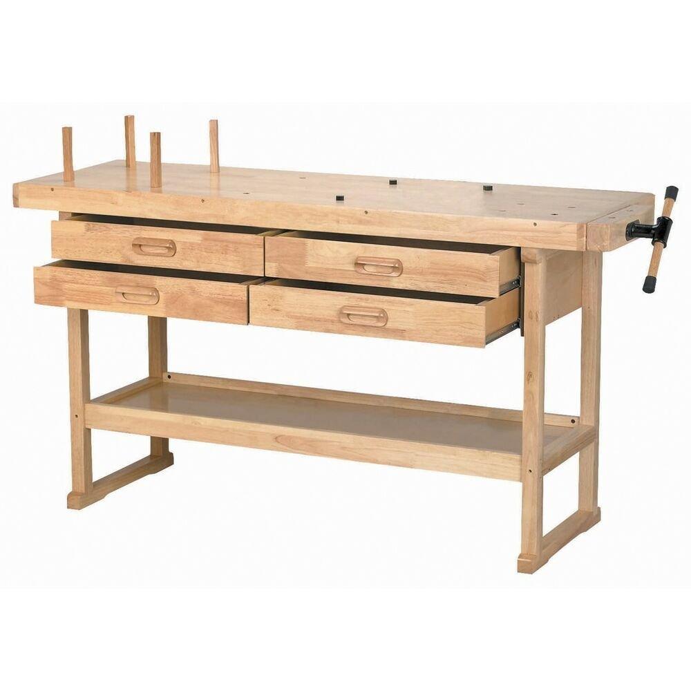 work benches for sale wood shop table with drawers vise tool storage hobby craft ebay. Black Bedroom Furniture Sets. Home Design Ideas