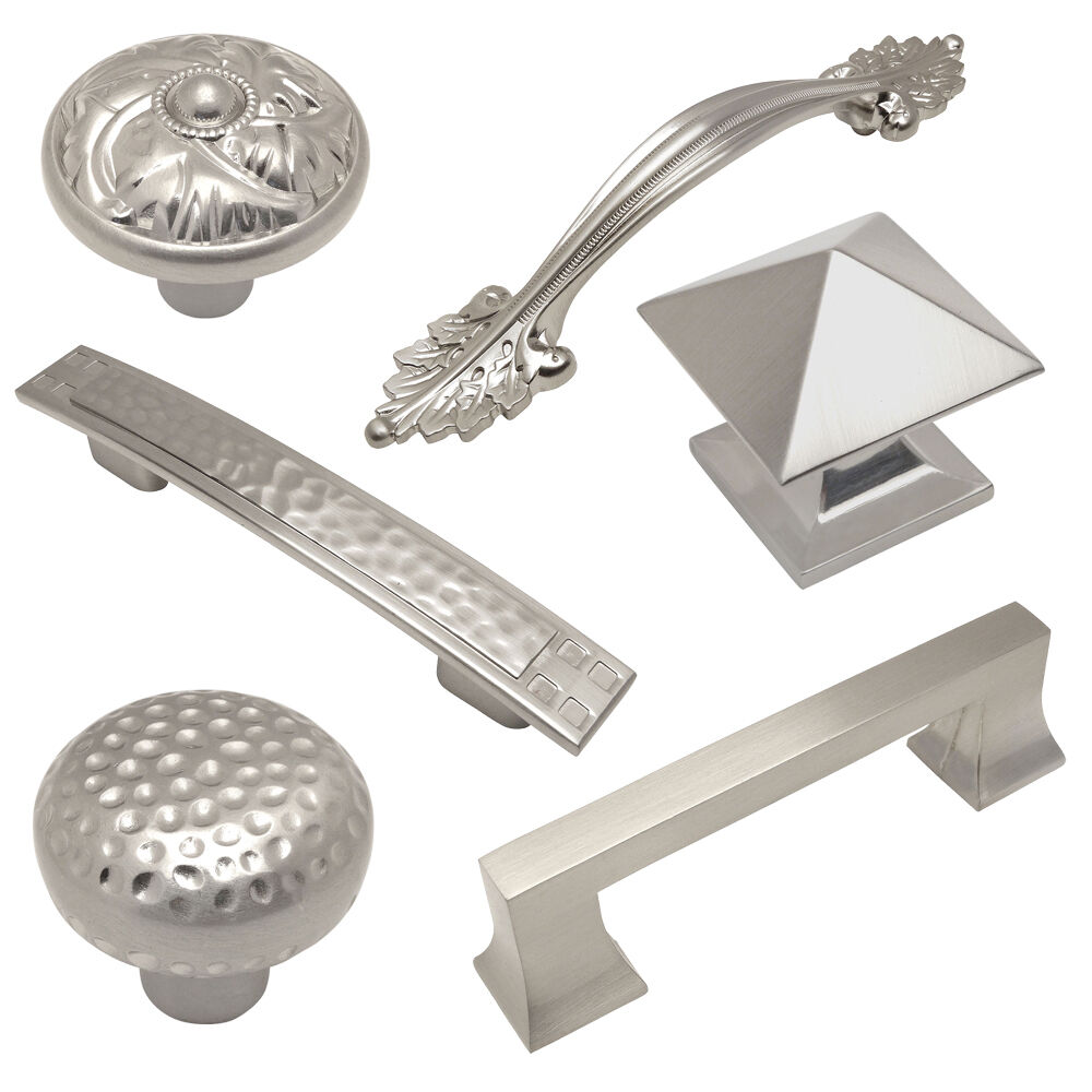 Kitchen Knobs And Pulls For Cabinets: Cosmas Satin Nickel Cabinet Hardware Pulls, Knobs, And